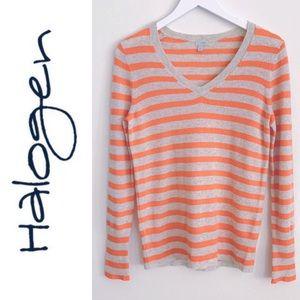 Halogen Cashmere Striped Oatmeal V-Neck Sweater M